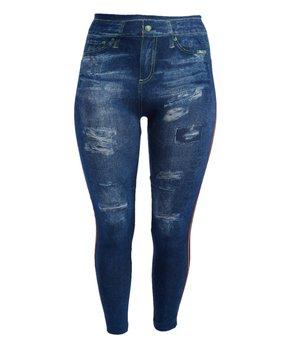 c9530dfd16c68 Crush | Blue Denim Distressed Side-Stripe Jeggings - Plus