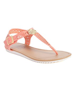 Cutout Embellished T-strap Sandal CORAL