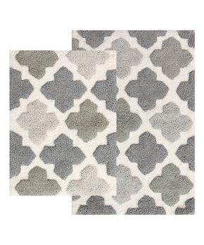 Chesapeake Merchandising | Gray Alloy Moroccan Tile Bath Rug Set