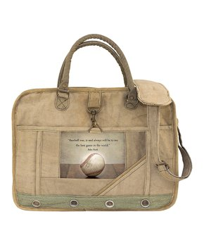 Vintage Addiction Tan Baseball Laptop Messenger Bag