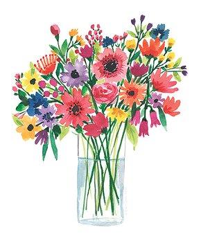 Ellen Crimi-Trent | Bright Flowers in Vase Print
