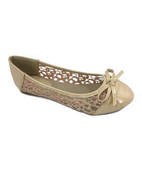 Ositos Shoes | Beige Bow-Accent Flat - Girls