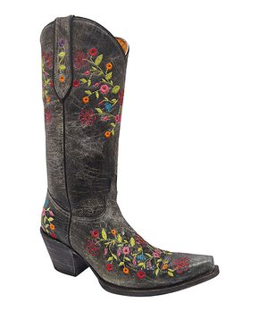 Redhawk Boot Co. | Black Floral Embroidered Leather Cowboy Boot – Women