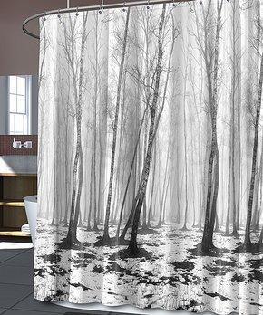 Splash Home | Black & White Fog Forest Shower Curtain