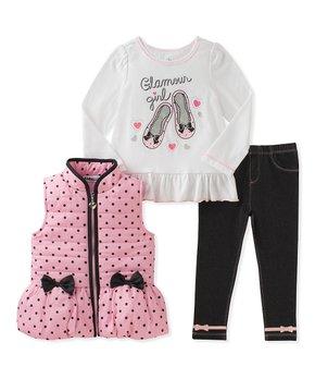 e2ecda45201b Kids Headquarters | Pink & Black Polka Dot Vest Set - Infant & Toddler