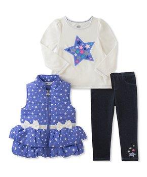 0459d6dd4c33 Kids Headquarters | Blue & White Stars Puffer Vest Set - Infant & Tod…