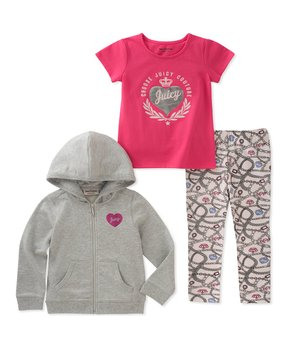 02a327f5f Juicy Couture | Gray Royal Heart Zip-Up Hoodie Set - Girls