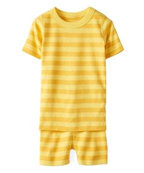 Swedish Yellow Bold Stripe Organic Cotton Short John Pajamas - Girls 3a94460c4