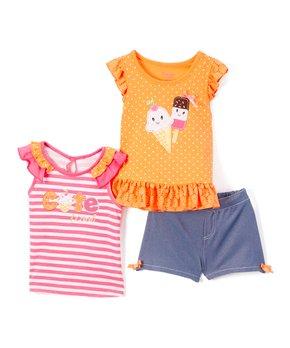8cf2ff210db67 Nannette Kids | Orange 'Cute' Angel-Sleeve Top Set - Toddler