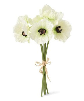 K&K Interiors | 11'' Real Touch White Poppy - Set of Six