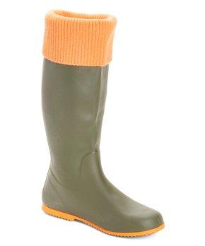 Windsor Rain Boots Green/Orange 7