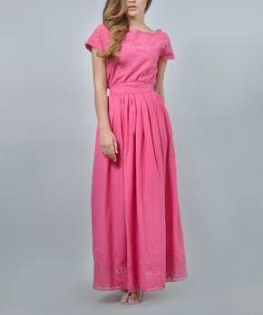 83c0b7424e all gone. Lila Kass   Fuchsia Lace-Trim Belted Maxi Dress - Women ...