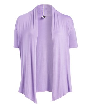 MOA Collection | Lilac Short-Sleeve Open Cardigan - Plus
