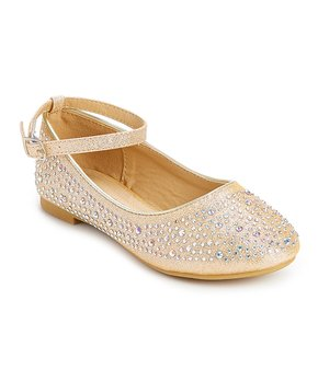 Adorababy | Champagne Rhinestone Ankle-Strap Flat - Girls