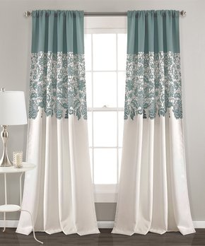 Lush Décor | Blue Floral Room-Darkening Curtain Panel - Set of Two