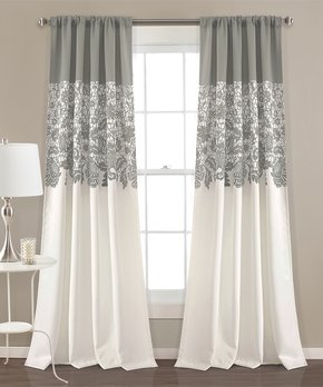 Lush Décor | Gray Floral Room-Darkening Curtain Panel - Set of Two