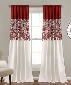 Lush Décor | Red Floral Room-Darkening Curtain Panel - Set of Two