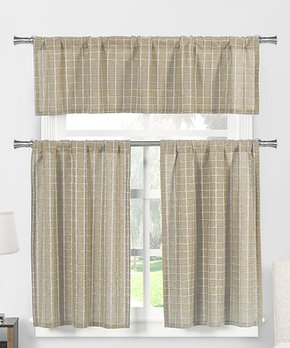 Duck River Textile | Taupe Geo Faux Linen Three-Piece Curtain Panel Set