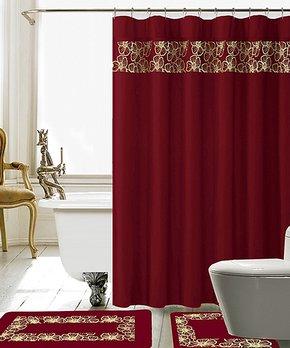 Daniel's Bath & Beyond | Burgundy Lilian Shower Curtain Set