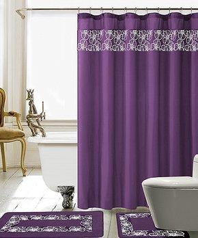 Daniel's Bath & Beyond | Purple Lilian Shower Curtain Set