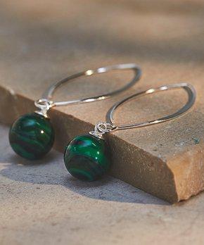 936678322 Green Malachite & Sterling Silver Drop Earring