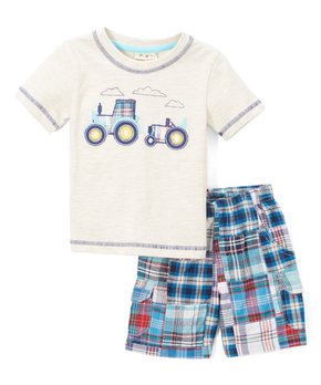 CR Kids | Heather Cream Tractor Tee & Turquoise Patchwork Shorts – Infant