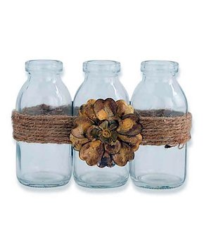 K&K Interiors | Glass Three-Bottle Jute-Tied Décor