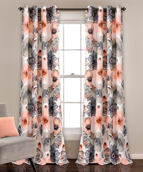 Lush Décor | Coral & Gray Leah Room-Darkening Curtain Panel - Set of Two