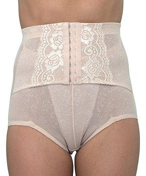 0864192b8c9d Nude Lace-Accent High-Waist Control Belt Shaper Briefs - Women