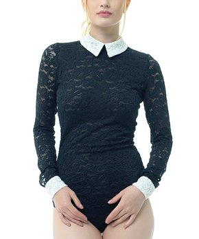 92a5b50d37 all gone. Black   Light Yellow Lace Collar-Accent Long-Sleeve Bodysuit