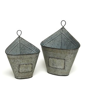 ZiaBella | Oval Weathered Metal Two-Piece Wall Planter Set