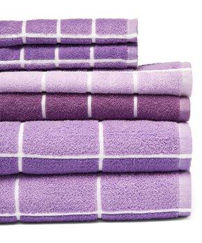 Revere Mills | Purple Checkmate Six-Piece Towel Set