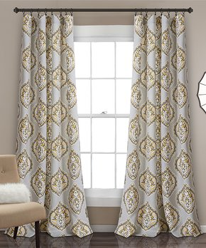 Lush Décor | Yellow & Gray Harley Room Darkening Curtain Panel - Set of Two
