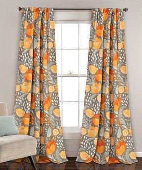 Lush Décor | Yellow Poppy Garden Room Darkening Curtain Panel - Set of Two