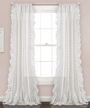 Lush Décor | Gray Ruffle Polka Dot Curtain Panel - Set of Two