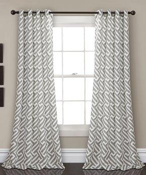 Lush Décor | Gray Giovana Room-Darkening Curtain Panel - Set of Two