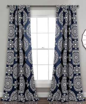 Lush Décor | Navy Penelope Blackout Curtain Panel - Set of Two