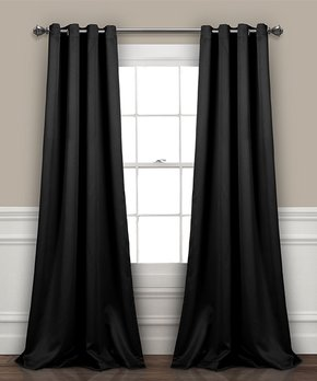 Lush Décor | Black Insulated Blackout Curtain Panel - Set of Two