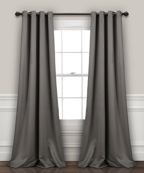 Lush Décor | Dark Gray Insulated Blackout Curtain Panel - Set of Two