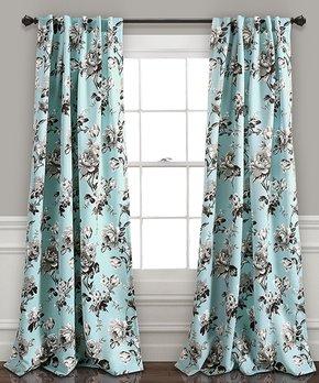 Lush Décor | Blue & Gray Tania Room-Darkening Curtain Panel - Set of Two