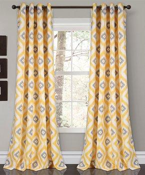 Lush Décor | Yellow Diamond Ikat Room-Darkening Curtain Panel - Set of Two