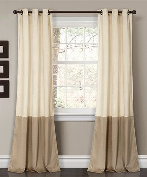 Lush Décor | Ivory & Taupe Prima Color Block Curtain Panel - Set of Two