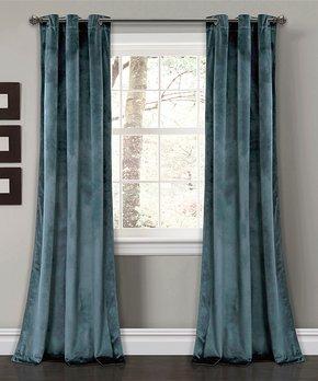 Lush Décor | Blue Flower Drop Curtain Panel