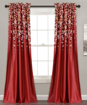 Lush Décor | Red Weeping Flower Curtain Panel - Set of Two