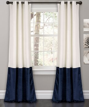 Lush Décor | Navy Metric Blackout Window Curtain - Set of Two