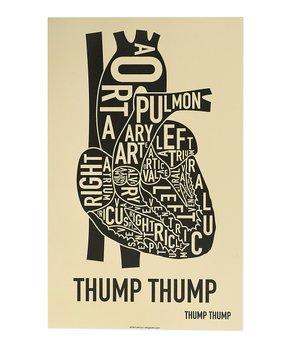 Ork Posters | Tan & Black Heart Typographic Diagram Print