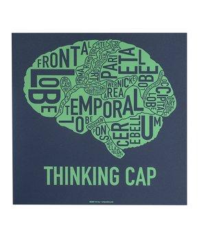 Ork Posters | Navy & Mint Brain Typographic Diagram Print