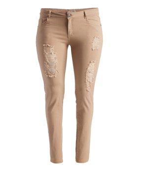 Emperial Premium | Khaki Distressed Skinny Pants - Women & Plus