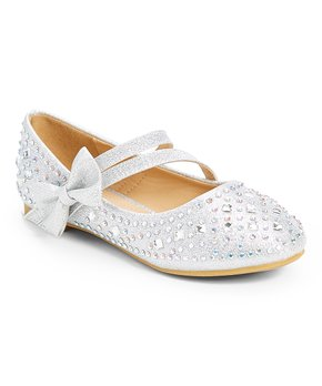 Adorababy | Silver Embellished Bow-Accent Mary Jane - Girls