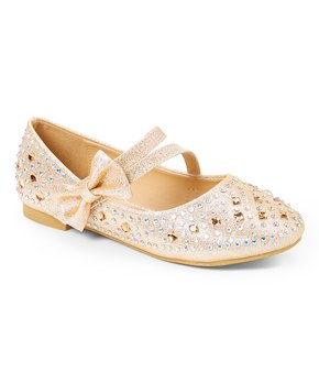 Adorababy | Champagne Embellished Bow-Acccent Mary Jane - Girls